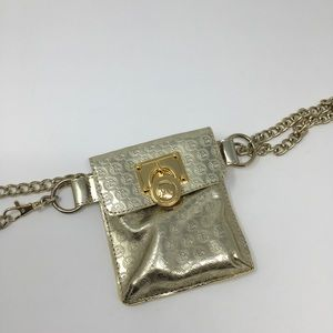MICHAEL Michael Kors Gold Metallic Fanny Belt M/L